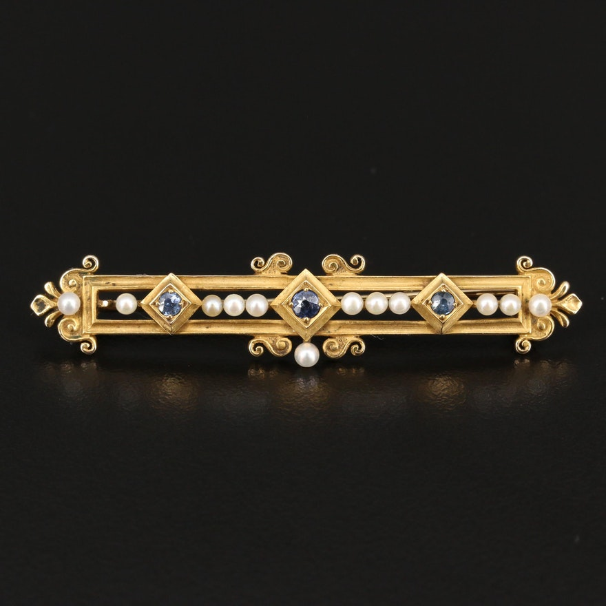 Early 1900's 14K Sapphire and Seed Pearl Brooch