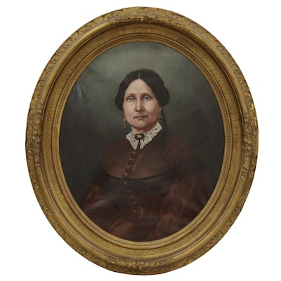 American School Oval Oil Portrait of Woman, Late 19th Century