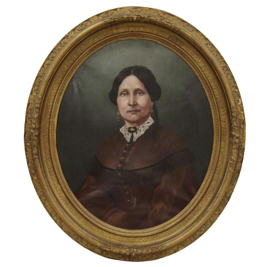 American School Oval Oil Portrait of Woman, Late 19th Century