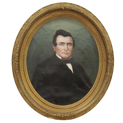 American School Oval Oil Portrait of Gentleman, Late 19th Century