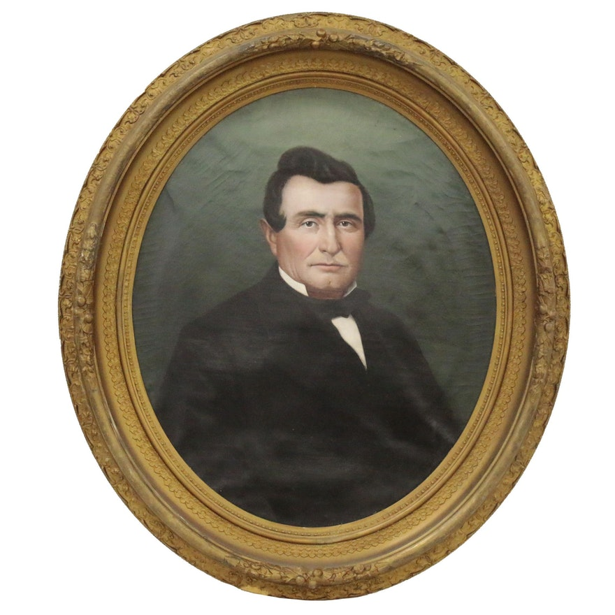 American School Oval Oil Portrait of Gentleman, Late 19th Century