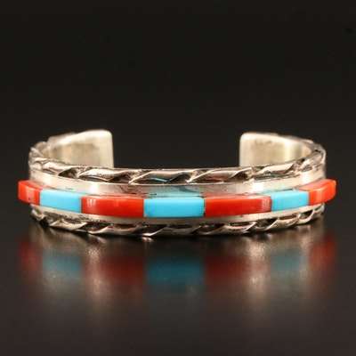 Artist Signed Southwestern Style Sterling Silver Coral and Turquoise Cuff