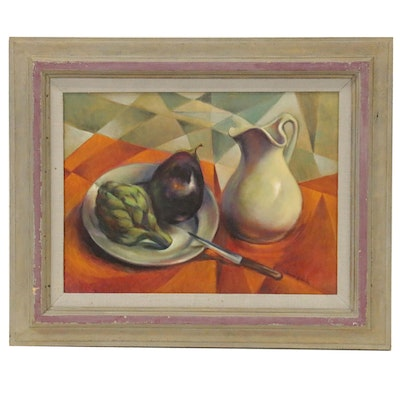 Jacques Zuccaire Oil Painting Still Life with Cubist Elements, Late 20th Century
