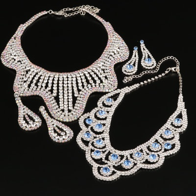 Rhinestone Bib Necklace and Earring Sets