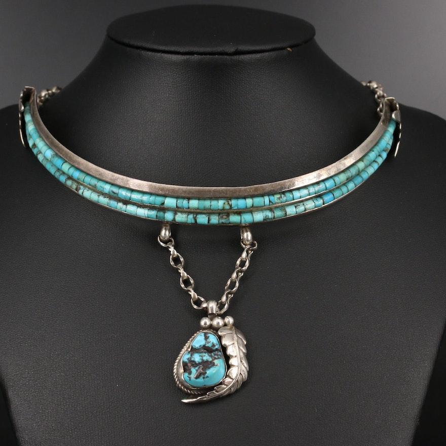 Southwestern Les Baker Shop Sterling Turquoise Choker Necklace