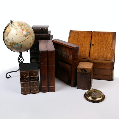 Wood and Brass Desk Letter Box with Minibar, Boxes, and Other Office Decor