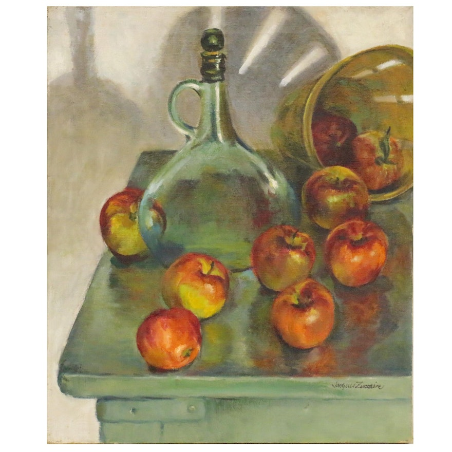 Jacques Zuccaire Still Life Oil Painting with Apples, Late 20th Century