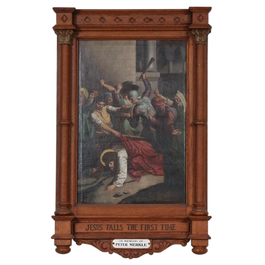 """Altarpiece Oil Painting """"Jesus Falls the First Time"""" From Stations of the Cross"""