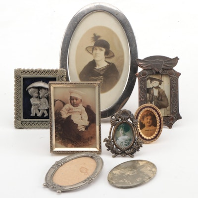 Silver Gelatin Female Portrait with Other Photographs and Frames
