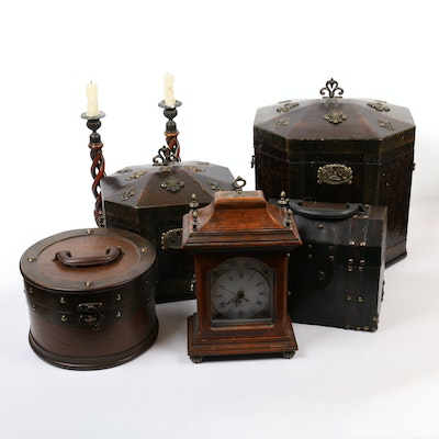 Decorative Boxes, Clock, and Candlesticks, 21st Century