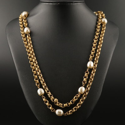 Vintage Miriam Haskell Imitation Pearl Double Chain Station Necklace
