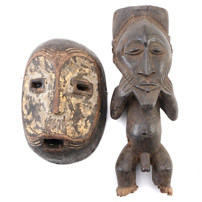 Lulua Style Carved Wood Mask and Central African Offering Figure