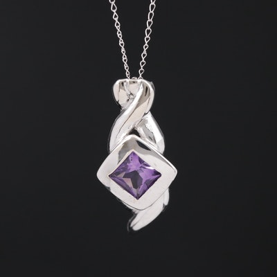 14K Amethyst Pendant Necklace
