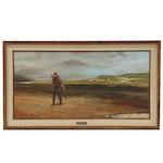 "John Austin Hanna Western Oil Painting ""Five Miles Short"", 1977"