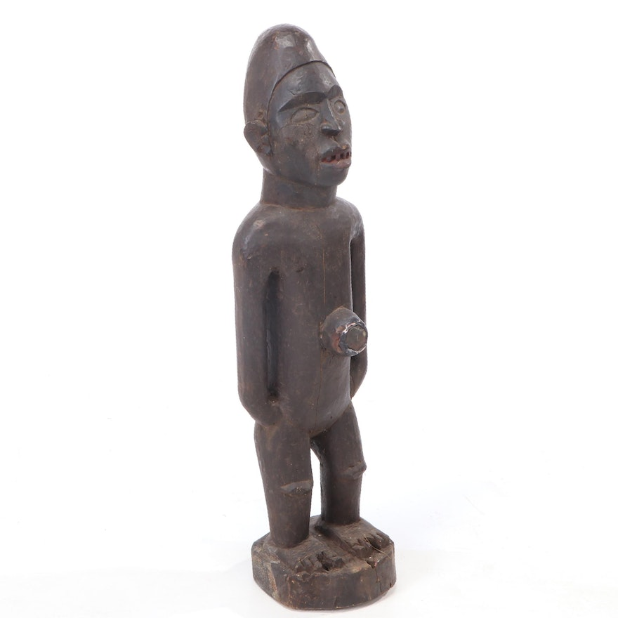 Yombe Style Hand-Carved Power Figure, Central Africa
