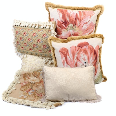 Needlepoint and Embroidered Throw Pillows