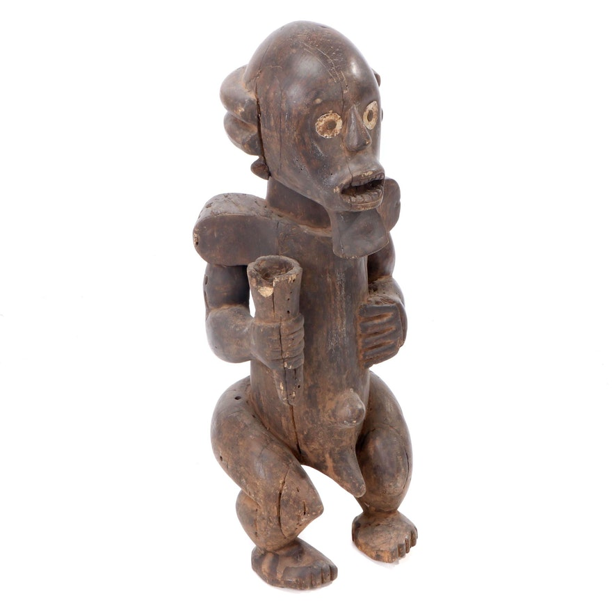 West African Carved Wood Seated Figure, Central Africa