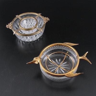 Regency Style Brass Rimmed Cut Glass Caviar Bowls