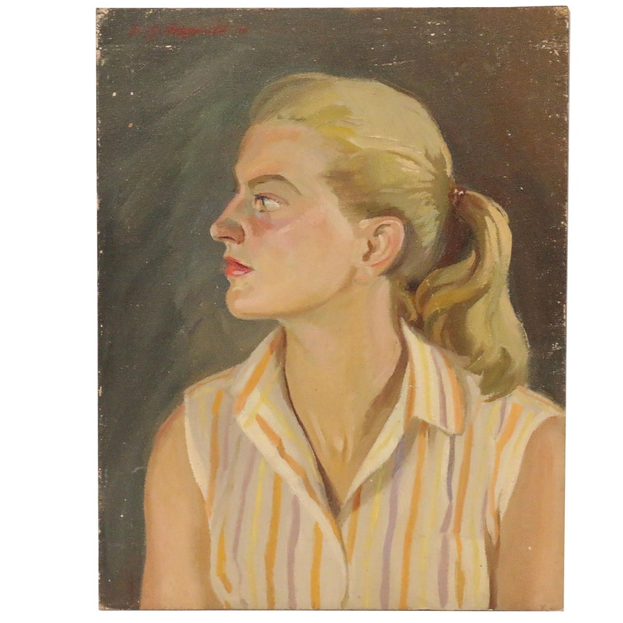 Edmond James Fitzgerald Oil Portrait of a Young Woman, 1984