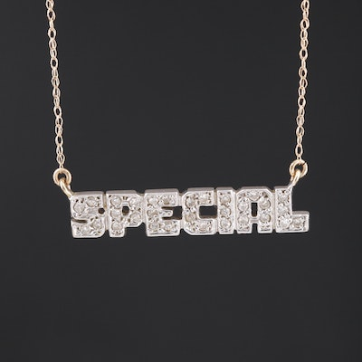 "14K Diamond ""Special"" Stationary Pendant Necklace"