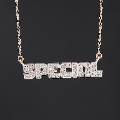 "14K Diamond ""Special"" Stationary Pendant Necklace"