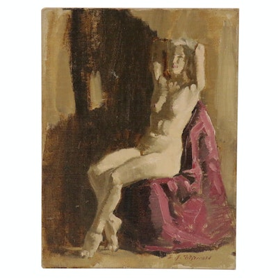 Edmond James Fitzgerald Seated Female Nude Oil Painting, 1984