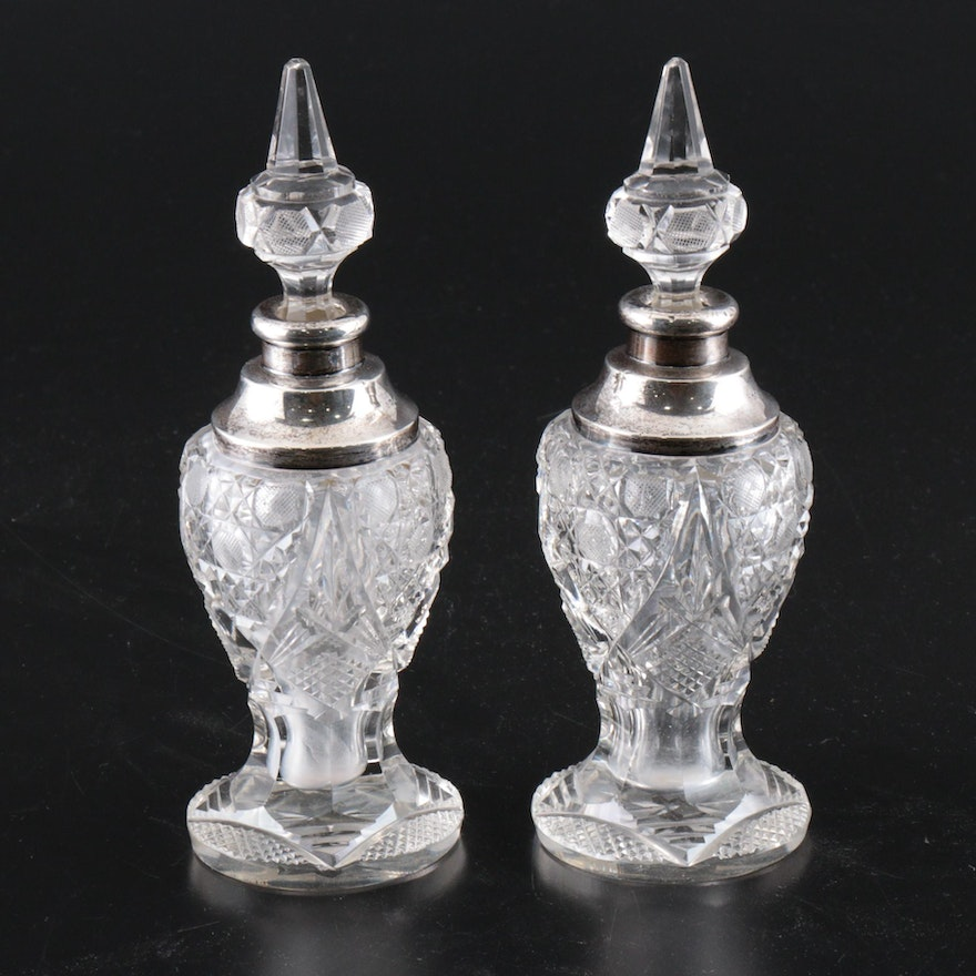 Sterling Silver and Cut Glass Perfume Bottles
