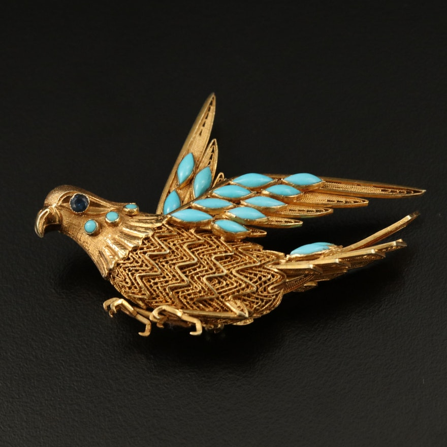 Vintage 14K Filigree, Sapphire and Turquoise Parrot Brooch