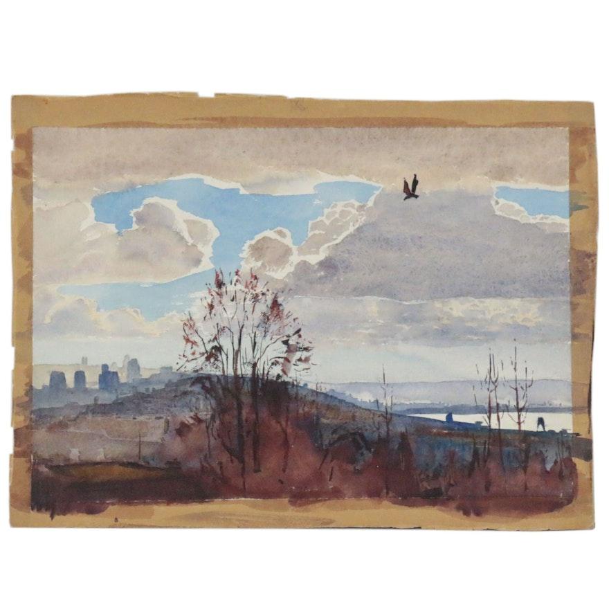 "Edmond James Fitzgerlad Watercolor Painting ""Bird Flying Home, Seattle"""
