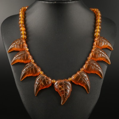 Vintage Copal Leaf Motif Necklace