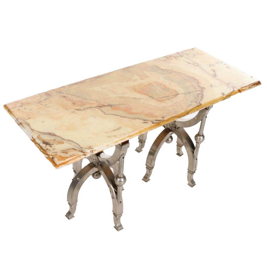 Articulated Metal and Marble Top Table, Mid-20th Century