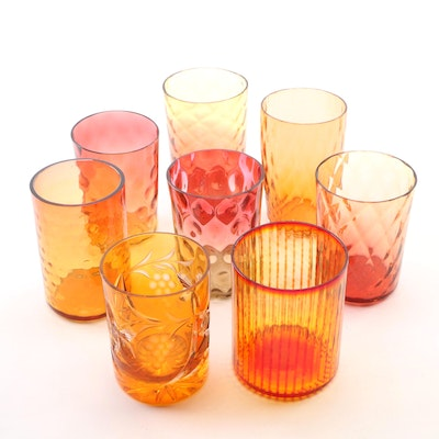 Amberina, Cranberry, and Orange Art Glass Cups