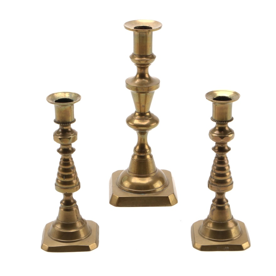 English Brass Baluster and Beehive Candlesticks, 19th Century