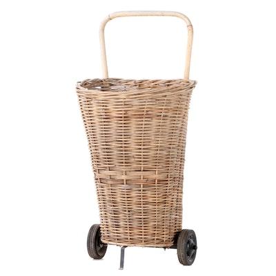 French Rolling Wicker Market Basket
