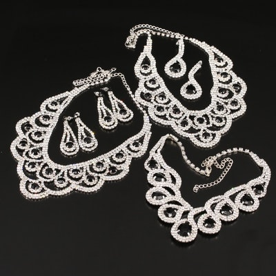 Rhinestone and Plastic Bib Necklaces and Drop Earrings