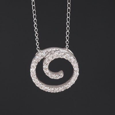14K Diamond Swirl Pendant Necklace