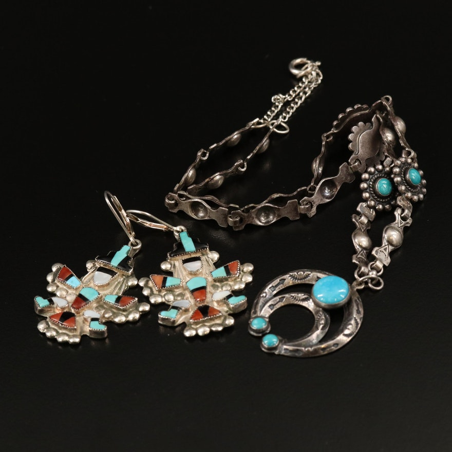 Southwestern Sterling Silver Necklace and Earrings with Gemstones