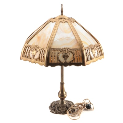 Slag Glass and Painted Metal Table Lamp, Early to Mid 20th Century
