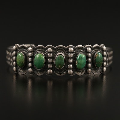 Southwestern 900 Silver Green Turquoise Cuff