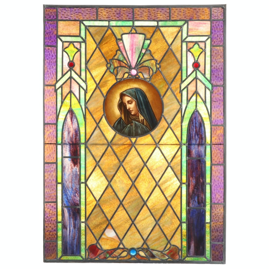 Reverse Painted Virgin Mary Stained and Slag Glass Panel, Early 20th Century