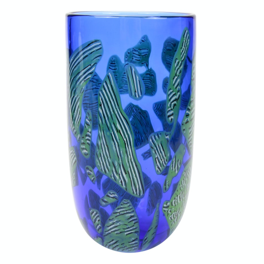 Seguso Viro Murano Blown Art Glass Vase