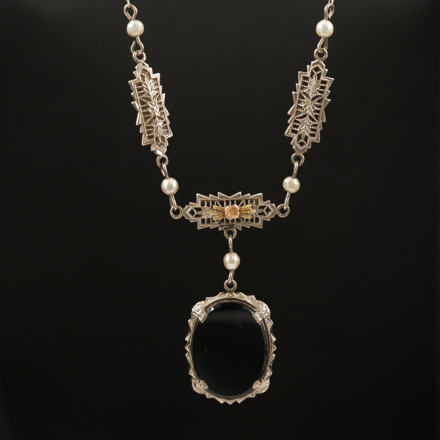 Art Deco 10K Black Onyx and Imitation Pearl Necklace with Rose Gold Accents