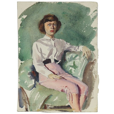 Edmond James Fitzgerald Double-Sided Portrait Watercolor Painting