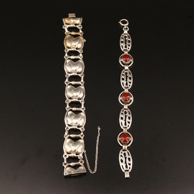 Sterling Panel Bracelets with Carnelian and Brutalist Style