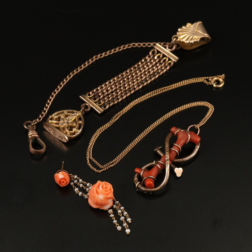 Vintage Assortment of 14K Coral and Seed Pearl Jewelry Including Watch Fob