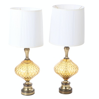 Pair of Italian Made Amber Glass Table Lamps
