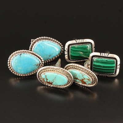 Selection of Southwestern Style Sterling, Turquoise and Malachite Cufflinks
