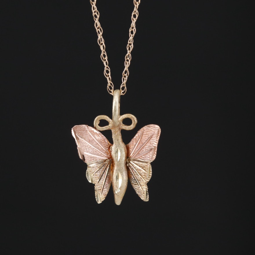 10K Two Tone Butterfly Pendant Necklace
