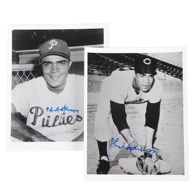 Chuck Harmon Signed Cincinnati Reds and Philadelphia Phillies Photo Prints