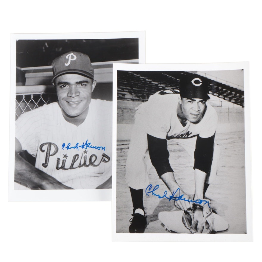 Chuck Harmon Signed Cincinnati Reds and Philadelphia Phillies Photo Prints